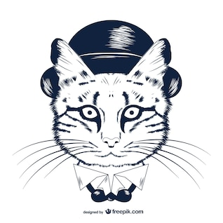 Hipster cat in bowler hat