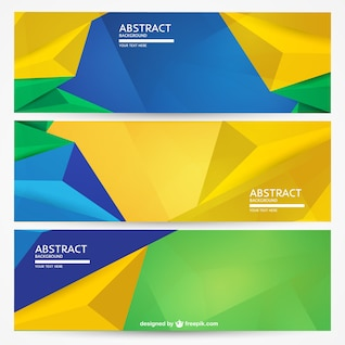 Geometric Brazil banners background set