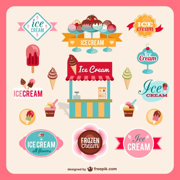 Retro ice-cream shop graphics