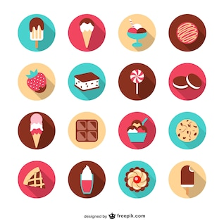 Summer desserts vector set