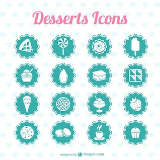 Desserts icons vector graphics