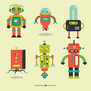 Retro robots vector elements