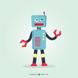 Blue retro robot vector
