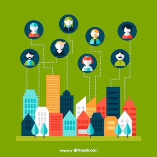 Networking cityscape vector