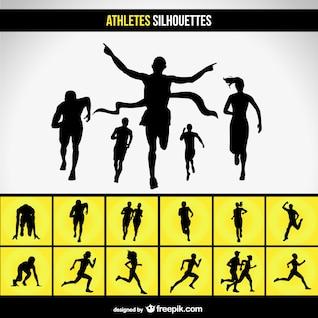 Running race silhouette set