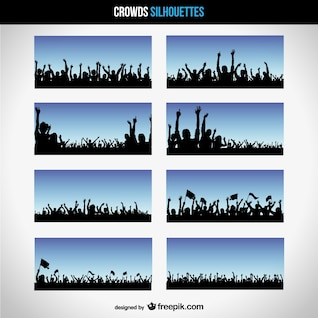 Vector crowd silhouettes