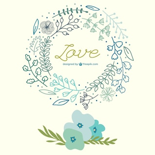 Spring flowers hand drawn love card