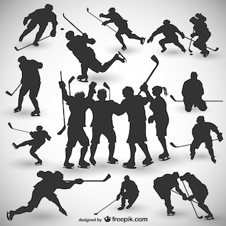 Hockey players silhouettes set