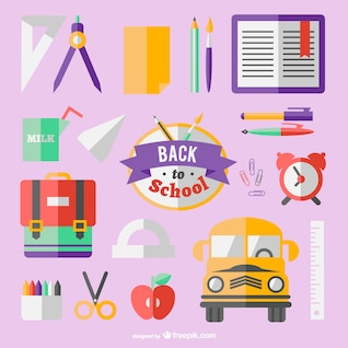 Flat icons back to school concept