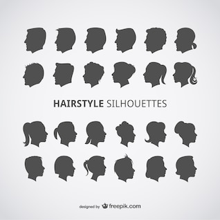 Hairstyles vector profiles set