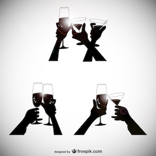 Toasting hands silhouettes