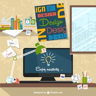 Designer's workspace flat illustration