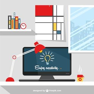 Designer's workspace illustration