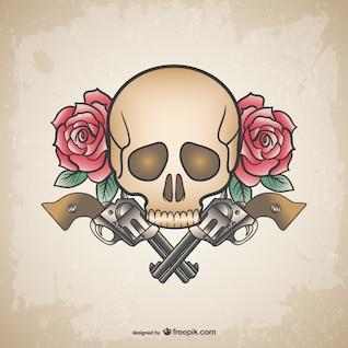 Skull tattoo guns and flowers design