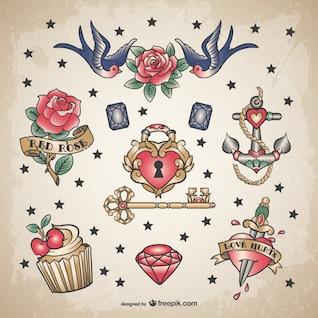 Classic love tattoo set