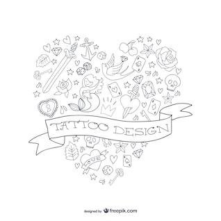 Tattoo design heart shape vector