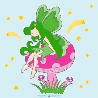 Fairy on mushroom vector