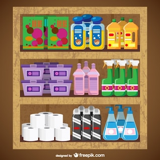 Cleaning products supermarket vector