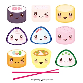 Asian food kawaii cartoon