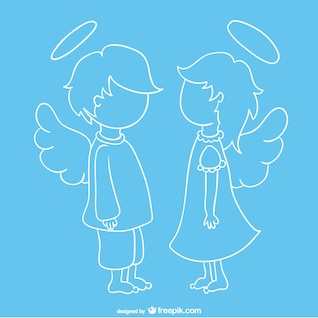 Cute angels face to face vector