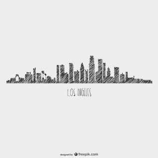 Sketchy skyline Los Angeles view