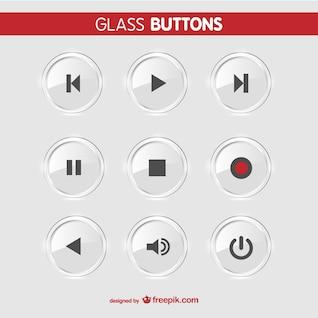 Glass buttons vector set