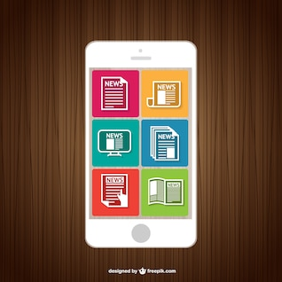 News smartphone reading vector