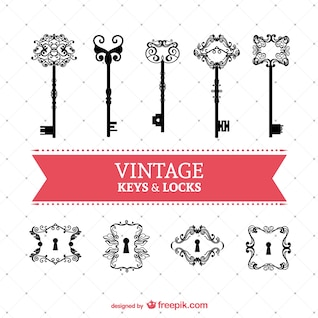 Vintage keys and locks vector set
