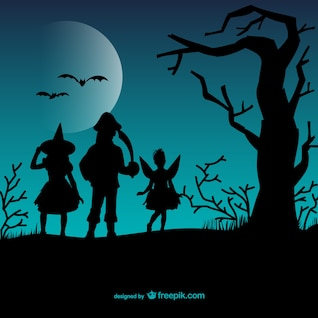 Halloween children silhouettes