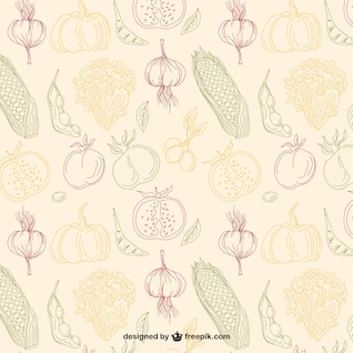 editable pattern of hand drawn vegetables