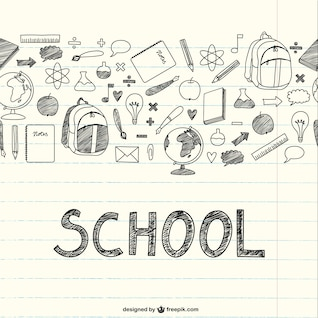 Drawing school items on a notebook