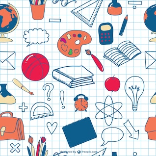 School doodles seamless icons background