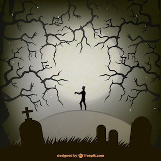 Zombie in a graveyard in halloween night illustration