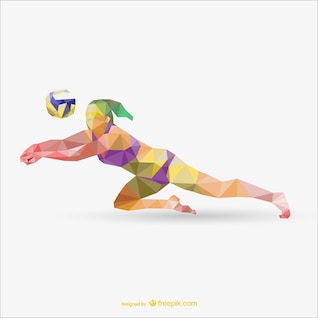 Sportwoman playing voleyball geometry vector