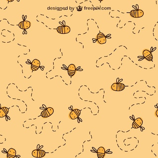 Bee drawing editable pattern