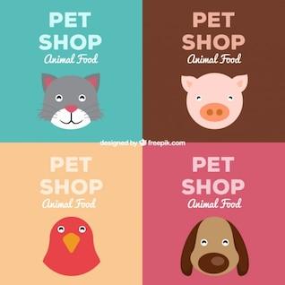 Pet shop retro drawing posters