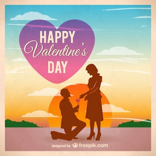 Couple silhouette on valentine's day