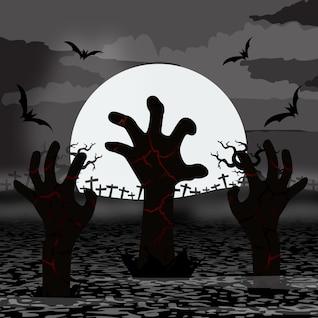 Zombie hands rise in halloween