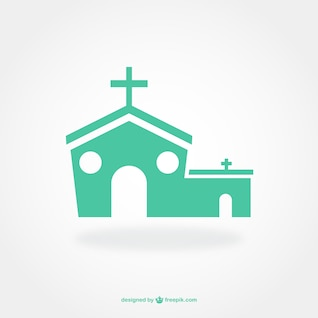Flat pictogram design of church