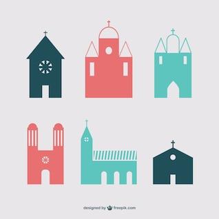 Christian buildings icon set