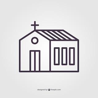 Linear church vector pictogram