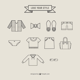 Clothing icons free vector