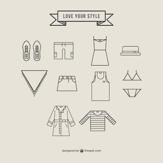 Fashion icons clothing vector
