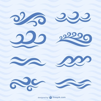 Wave icons vector set