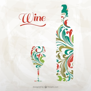 Artistic wine bottle and glass