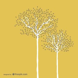 White autumn trees
