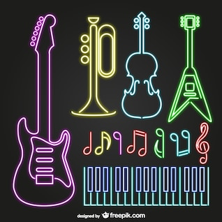Neon musical instruments