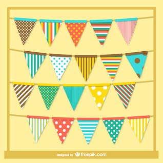Colorful retro style garlands
