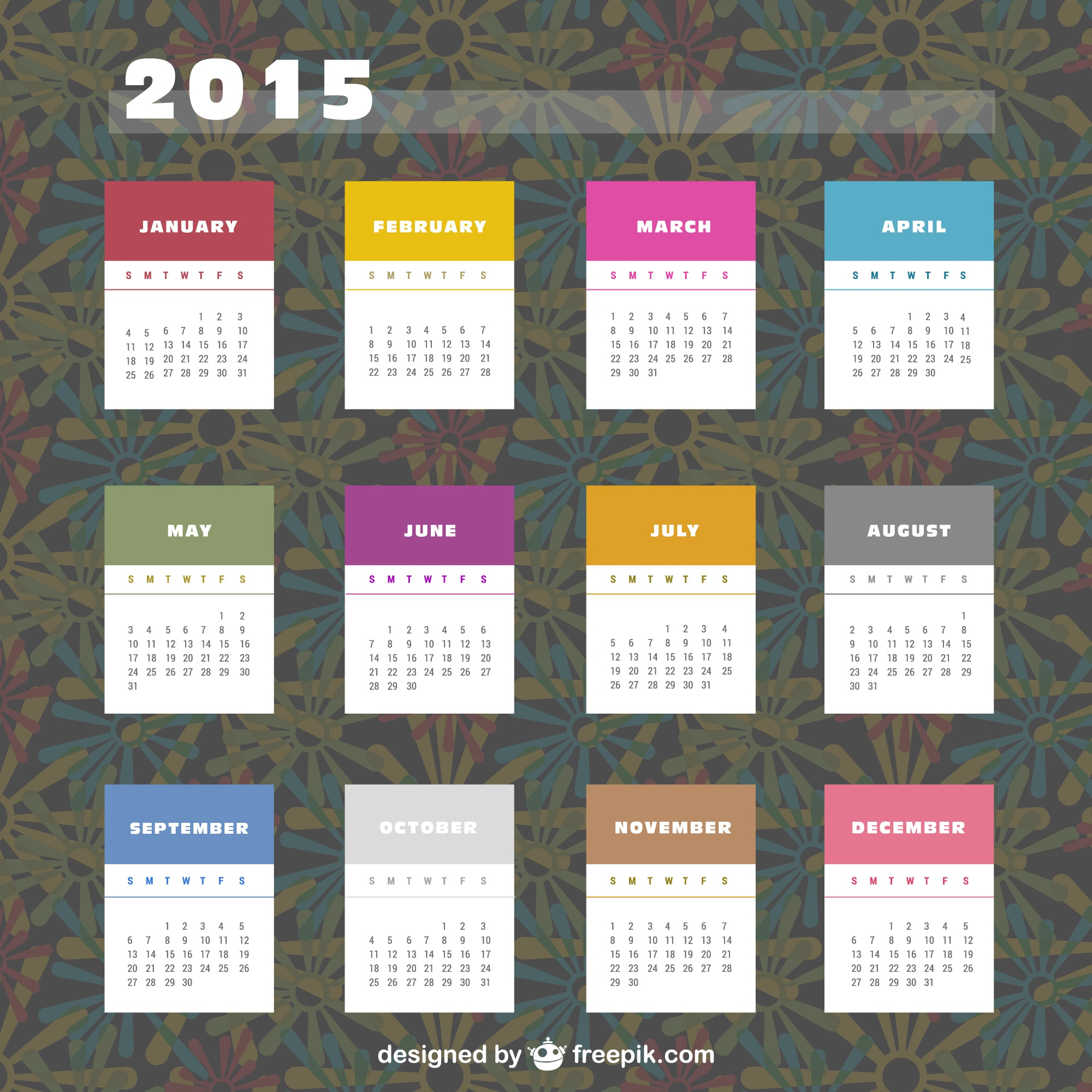 2015 Calendar with colorful labels