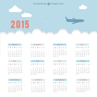 2015 Calendar with sky and plane
